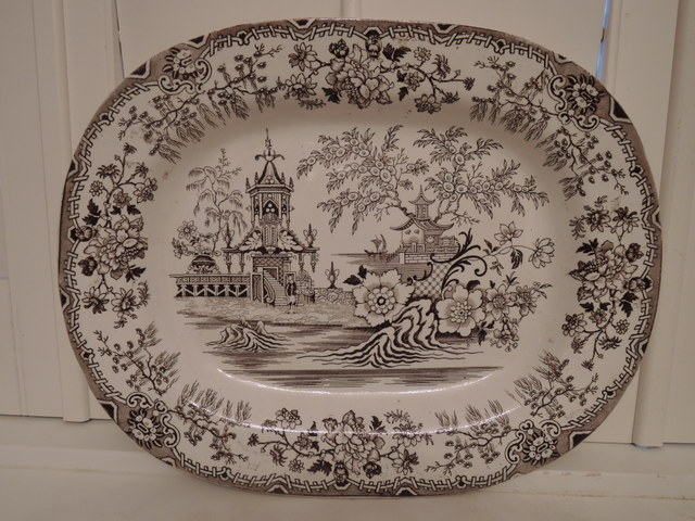 "Antique Brown Transferware 16"" Platter F. Primavesi & Sons Cardiff 19th C. Chinoiserie"