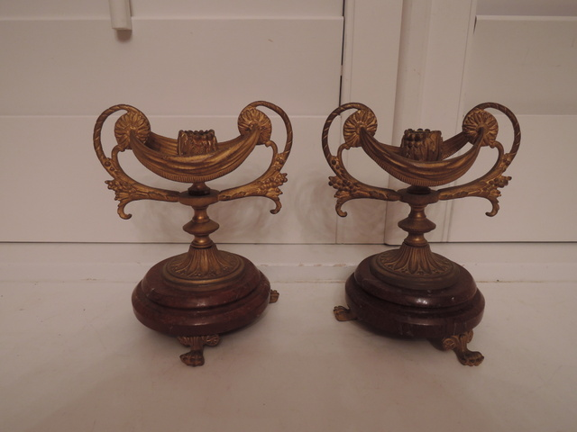Pair Antique French Gilt Bronze & Amber Marble Candle Holders Candlesticks 19th C.