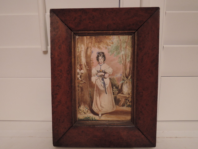 19th C. Antique Watercolor Portrait Painting w/Walnut Frame Gentile Woman in Country