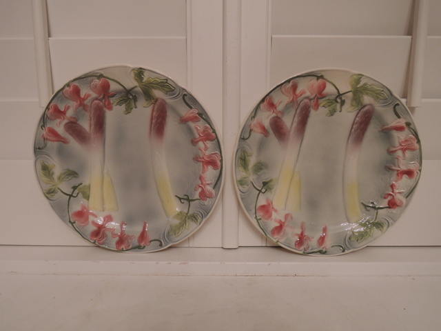 Pair Hand Painted French St. Clement Asparagus Majolica Plates