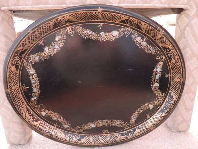 Antique Victorian Large Paper Mache w/Mother of Pearl Tray Platter