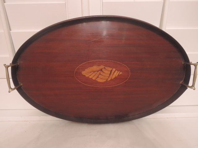 Antique Inlaid Mahogany Wooden Tea Tray Brass Handles Butler Carrier