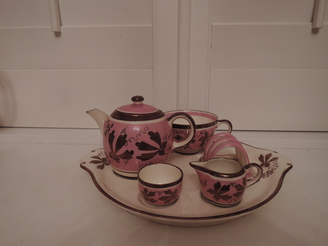 Rare! Gray's Pottery Pink Luster Breakfast Tea for One Teapot Set