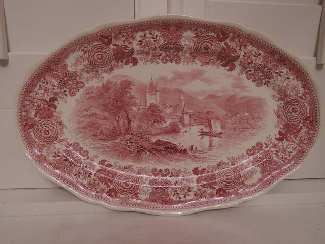 "Vintage Villeroy & Boch Burgenland Red/Pink Transferware 16"" Platter German"