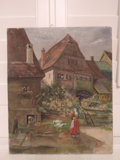 German Oil on Board Landscape Country Scene Painting Germany