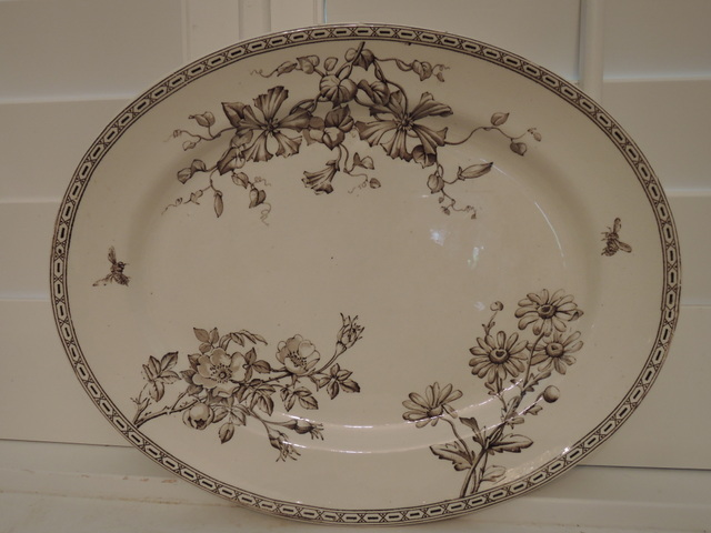 19th C. Antique Wedgwood Clematis Brown Transferware Platter