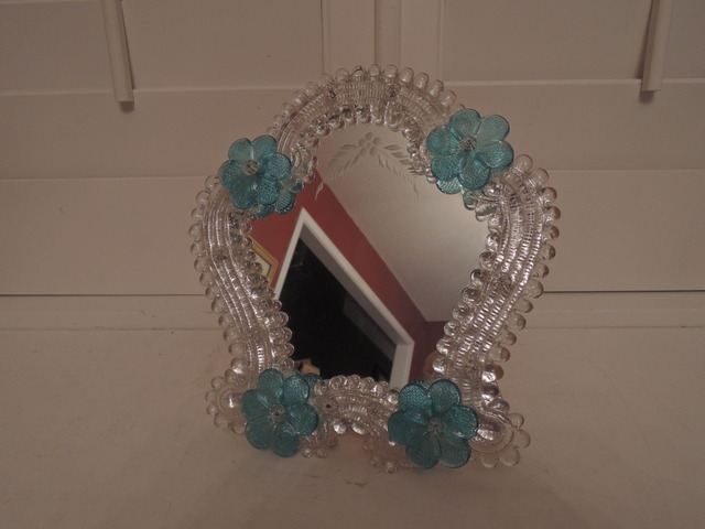 Italian Venetian Murano Etched Glass Ladies Vanity Dressing Mirror Blue Flowers