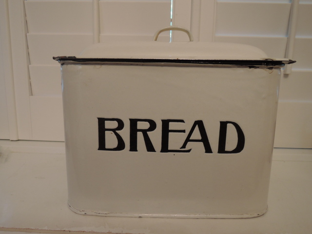 Vintage Classic English Enamelware Bread Box Enamel Bin White Small Size 1920's