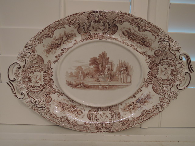 Antique Copeland & Garrett New Blanche Brown Transferware Platter Tongue Dish 1833-1847