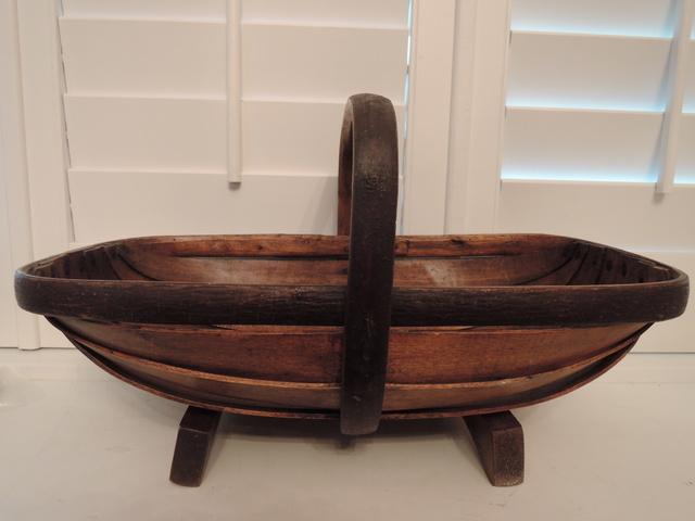 Vintage English Large Sussex Garden Trug Wooden Basket