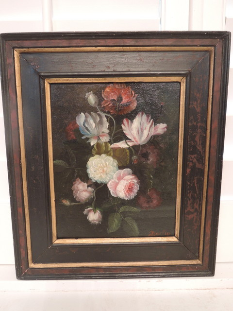 Antique Still Life Floral Botanical Framed Painting Bartin Belgian Oil on Canvas c. 1900