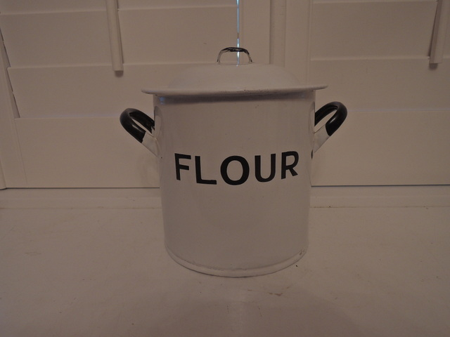 Antique English Classic White Enamelware Flour Bin/Box Enamel 1920's