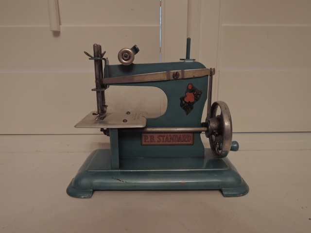 Vintage French Blue Child's Toy Sewing Machine P.B. Standard Hand Crank