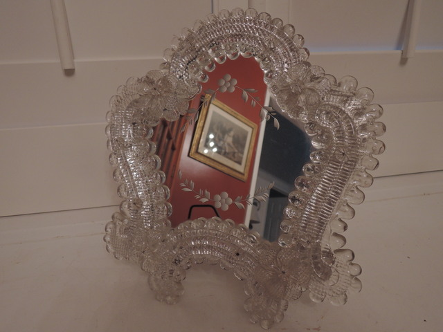 Gorgeous Italian Venetian Murano Glass Etched Mirror Ladies Vanity Dresser
