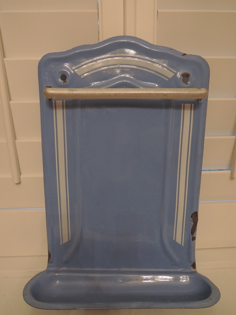 Vintage French Enamelware Blue & White Utensil Rack Holder Enamel 1930's
