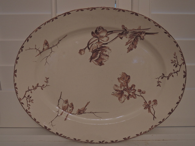 Antique HB & Co Choisy Oxford Brown Transferware Large Platter Birds