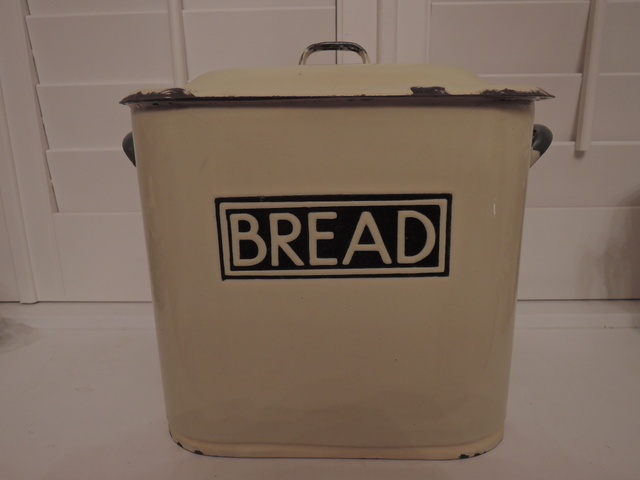 Antique English Green & Cream Enamel Bread Box Bin Enamelware 1920's