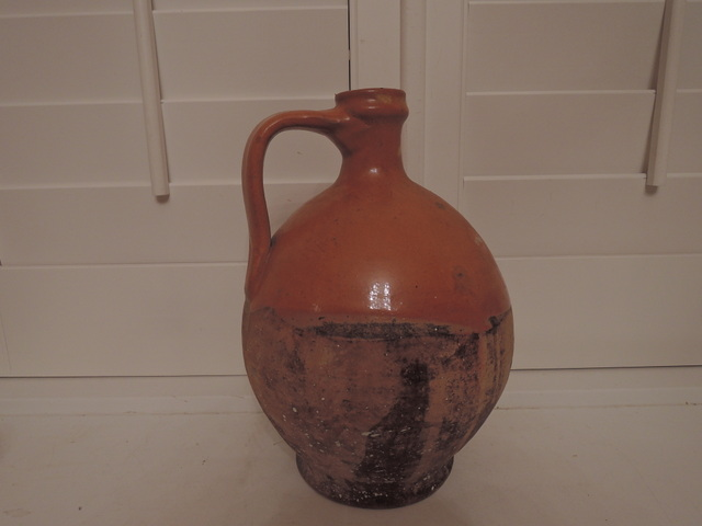 Antique French Pottery Primitive Terracotta Water/Wine Jug Pot Confit