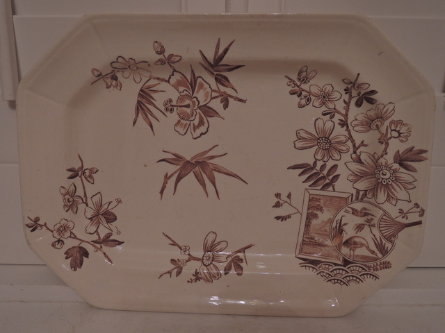 Antique Aesthetic Brown Transferware Kenilworth H. Alcock & Co Cobridge Platter