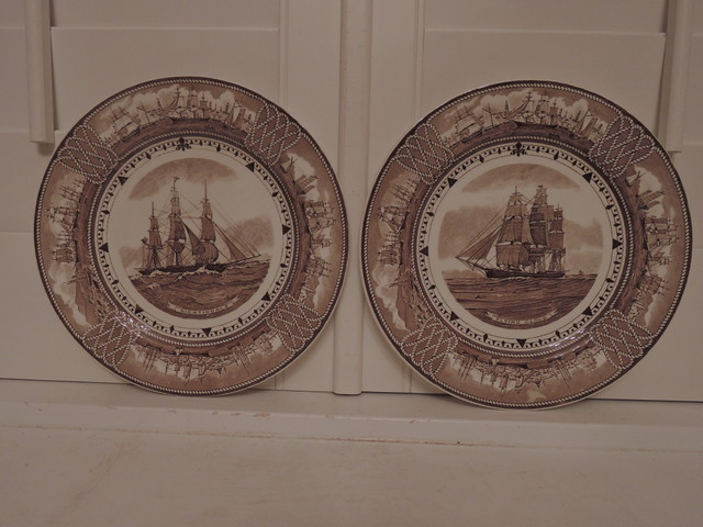 "Pair of Wedgwood American Clipper Ship Plates 9"" Brown Transferware"