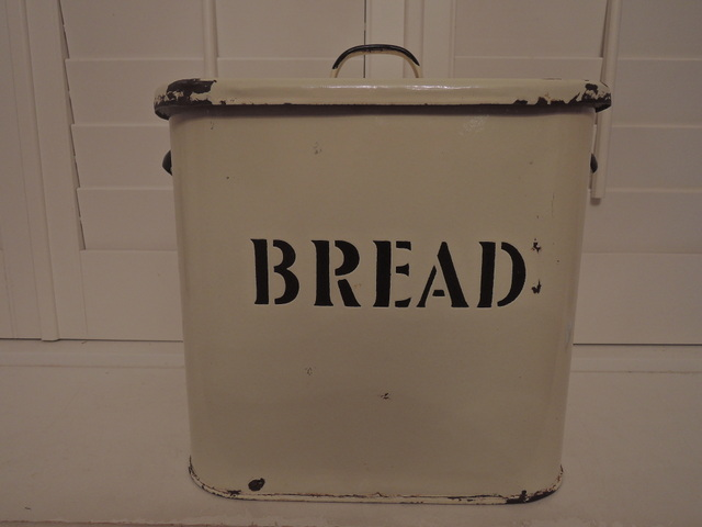 Vintage Classic English Enamelware Cream Bread Box Enamel Bin 1930's