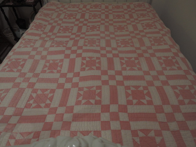 "Vintage Pink And White Ohio Star Pieced Hand Quilted 79"" X 64"" Quilt"