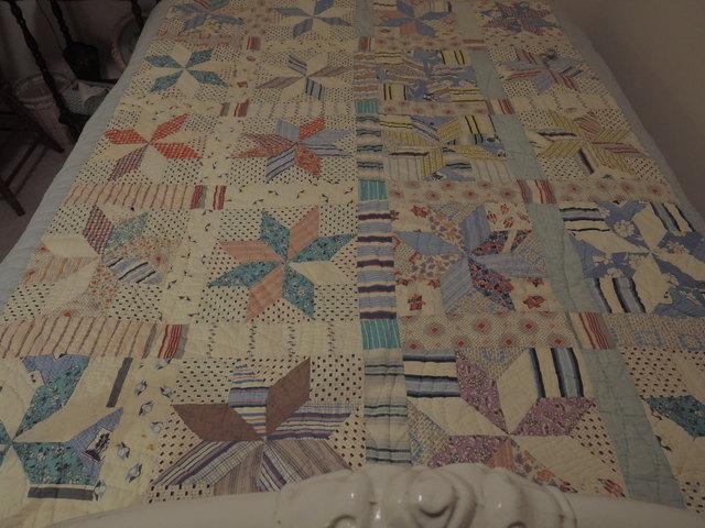 "Vintage 1920's Pinwheel Blocks Pieced Hand Quilted 73"" x 63"" Quilt Blue"