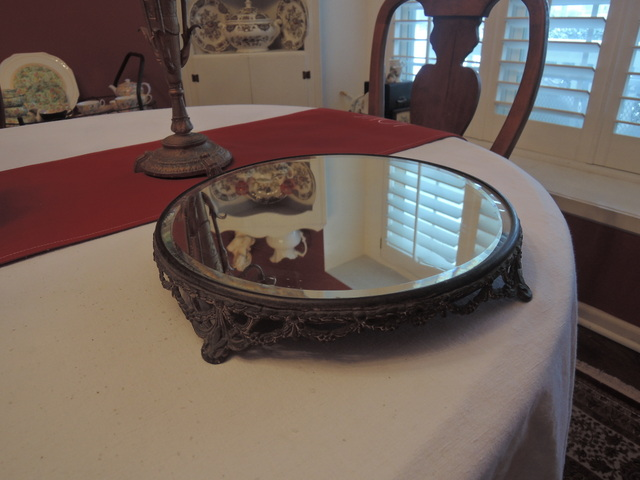 Antique Ornate Round Footed Platform Beveled Plateau Mirror