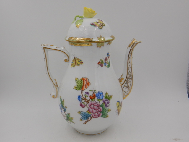 Large Herend Queen Victoria Teapot/Coffee Pot Yellow Rose Gorgeous