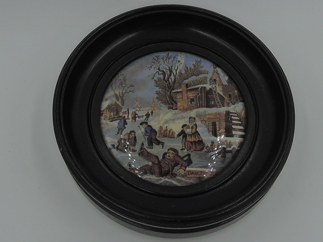 Antique Victorian Framed Prattware Dangerous Ice Skating Pot Lid 19th C.