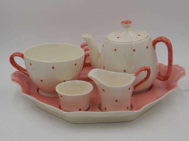 Vintage Royal Winton Pink & White Polka Dot Breakfast Set Tea For One Teapot
