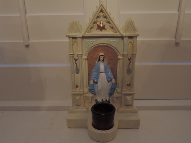 Vintage Chalkware Lady of Fatima Virgin Mary Altar Shrine w/Candle Religious