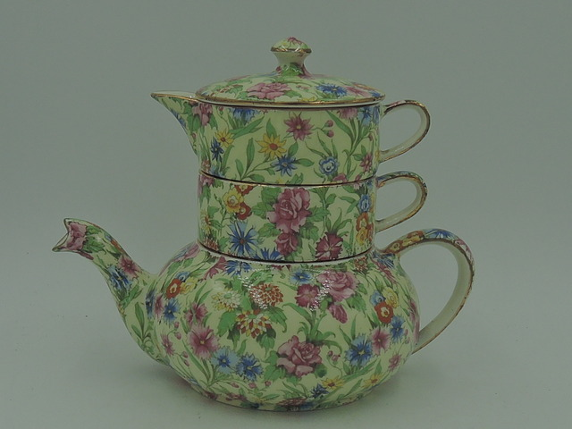 Vintage Royal Winton Chintz Kew Stacked Stacking Teapot Tea For One