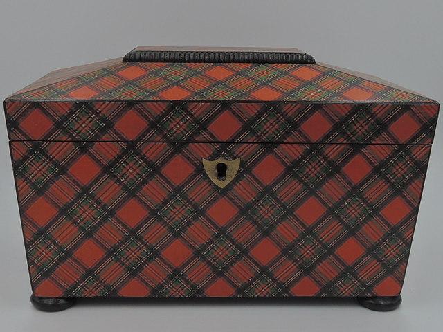 Antique Large Scottish Stuart Plaid Tartan Ware Tea Caddy Box 1880's