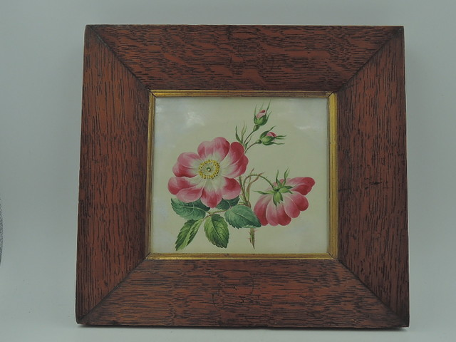Antique 19th C. English Watercolor Walnut Frame Botanical Painting Picture Pink Roses