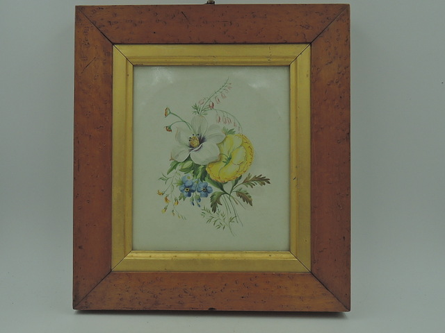 Antique 19th C. English Watercolor Burr Walnut Frame Botanical Painting Picture Florals