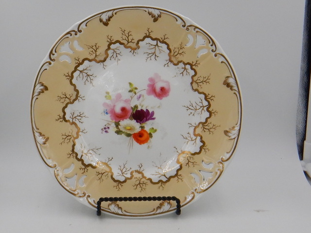 Antique 19th C. English Gilt Cabinet Dinner Plate Set of 4 Handpainted