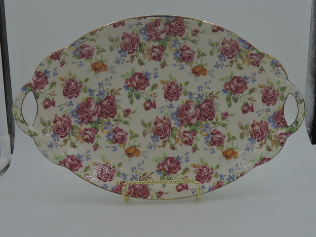 Vintage Royal Winton Chintz Victorian Rose Handled Tray/Plate Dish 1950's
