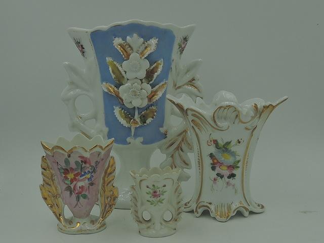 Antique Old Vieux Paris Porcelain Vases Set of 4 Florals French