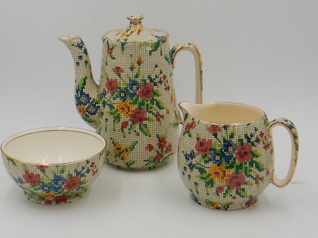 Vintage Royal Winton Chintz Queen Anne Teapot Tea Set For One