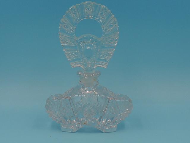 Vintage Daisy Hobstar Crystal Cut Glass Perfume Bottle w/Dauber StopperG