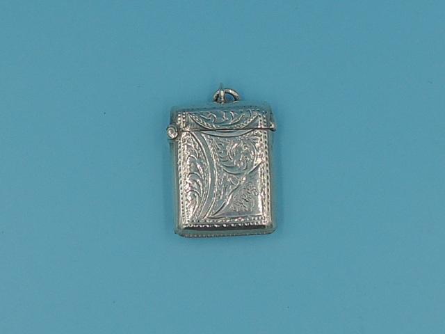 Antique English Sterling Silver Vesta Case Match Safe Striker Ornate Necklace 1902