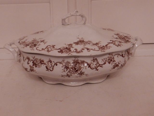 Antique New Wharf Pottery Clyde Brown Transferware Vegetable Serving Dish w/Lid