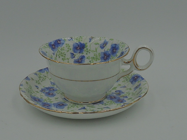 Vintage Shelley Blue Pansy Chintz Cup & Saucer Chester Shape Teacup