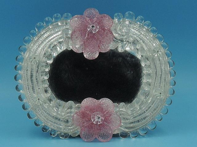 Vintage Italian Venetian Murano Glass Petite Ladies Dressing Mirror Pink Flowers