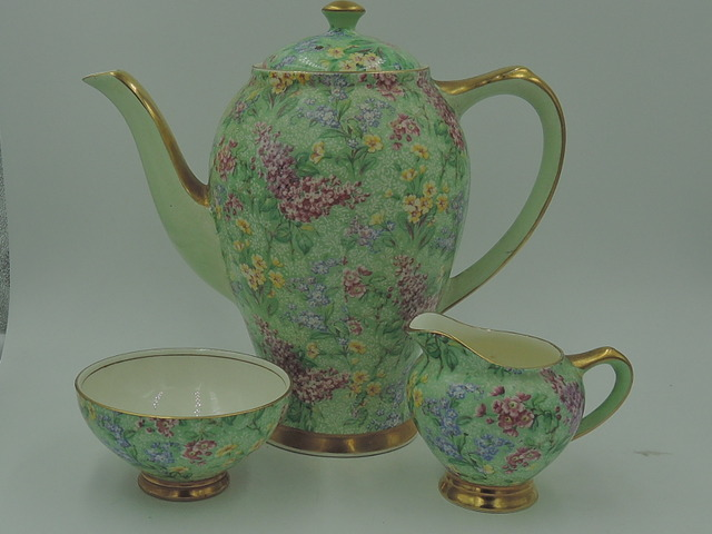 Vintage Empire Chintz Lilac Time Teapot/Coffee Pot Tea Set Sugar Bowl Creamer