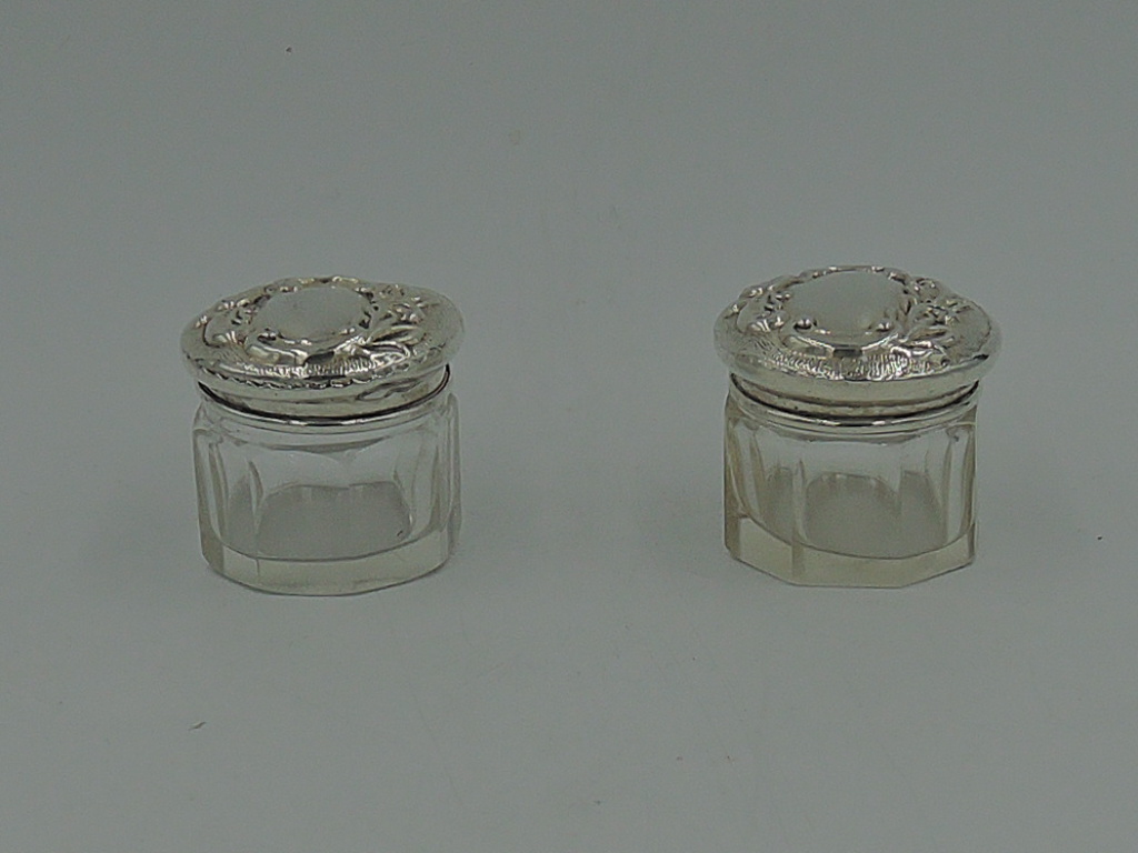 Antique English Petite Pair of Sterling Silver Lids & 8 Sided Glass Jars 1924