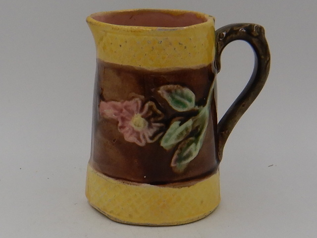 """Antique Yellow & Brown Pink Dogwood Majolica 4"""" Pitcher"""