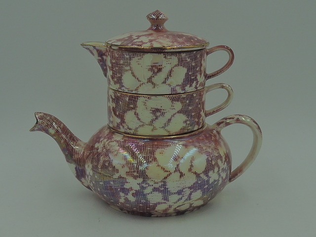 Vintage Royal Winton Chintz Pink Rose Brocade Stacked Teapot Stacking Tea For One