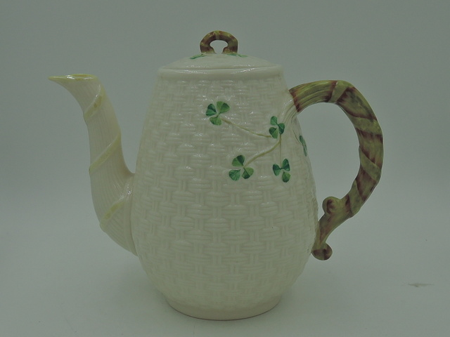 Rare! Belleek Irish Shamrock Basketweave Coffee Tea Pot Early Green Mark
